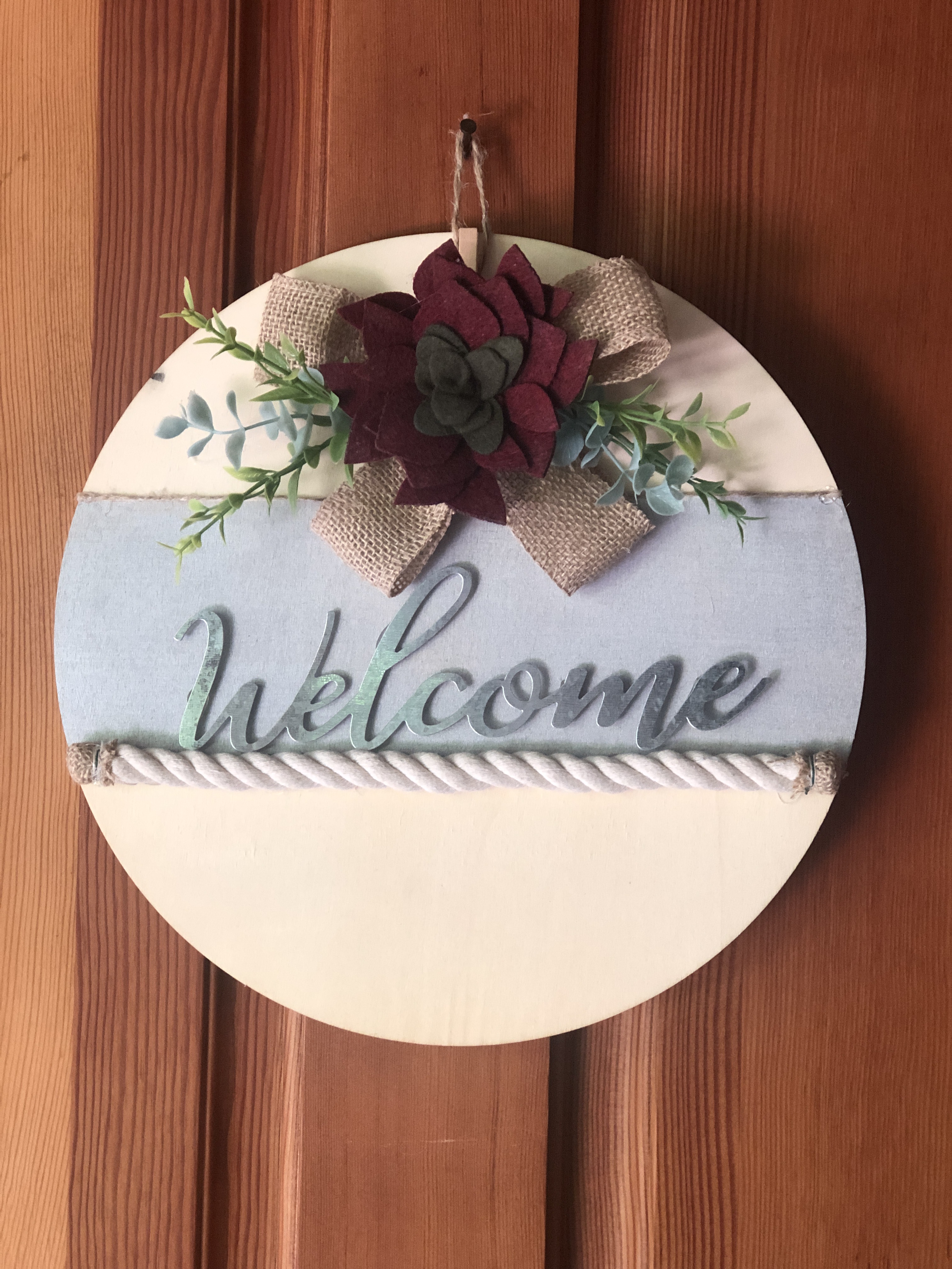 Natural Succulent Welcome Sign
