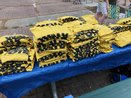 Shirts ready to hand out! Let's get started!