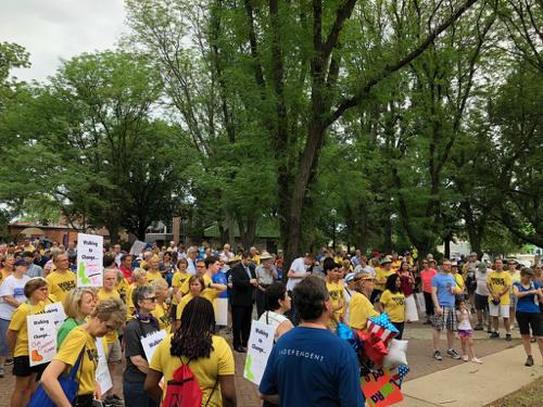 Crowd ready to walk