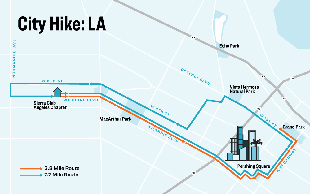 Route Map - note that those doing the 3.8-mile route will take the Metro back from Grand Park to our After Party