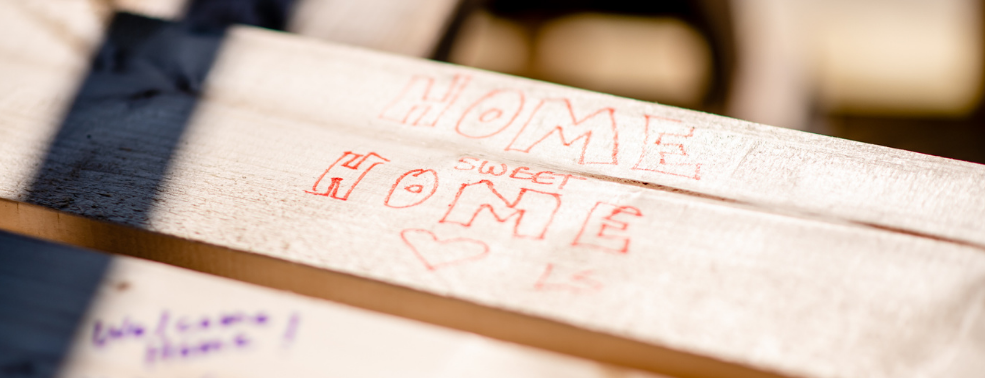Home Sweet Home written on the studs of a Habitat Chicago home