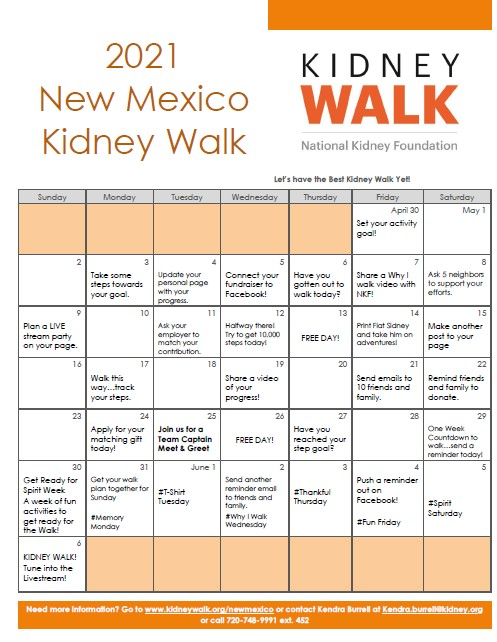 37 Day Activation Calendar for New Mexico Kidney Walk