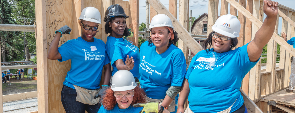 Five Women Habitat Chicago Homeowners Celebrating their Strength after a Wall-Raising