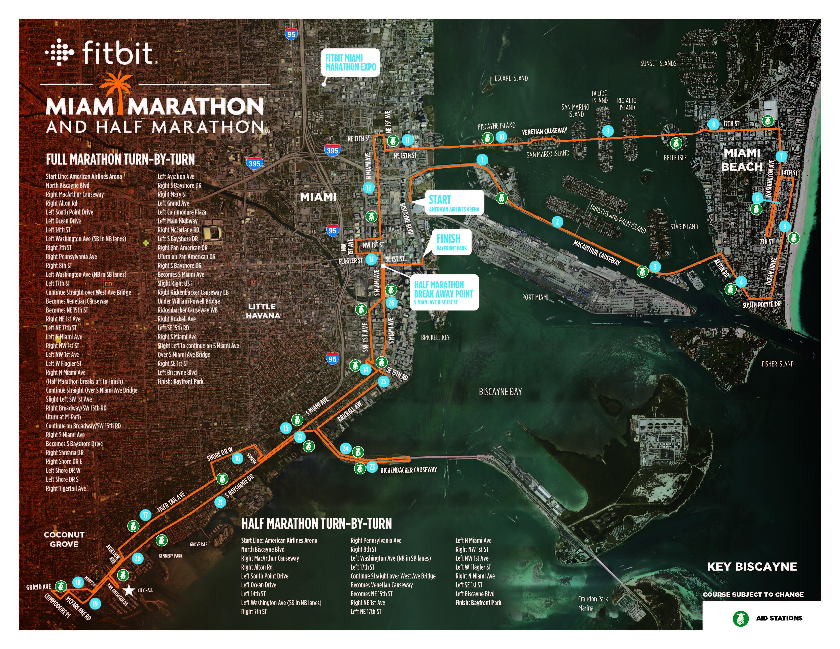 miami marathon course map Race Info Miami Marathon 2020 miami marathon course map